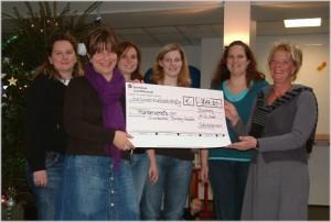 Spendenübergabe der Schulelternratsmitglieder an die Vors. des Fördervereins