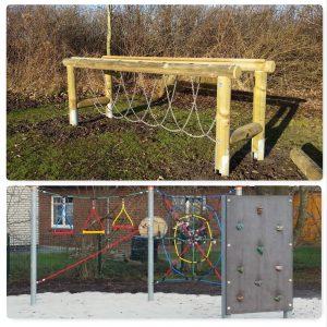 Neue Spielgeräte für die Pausenhöfe. oben: Ketten-Schlaufen-Brücke und Balancierbalken (NEU) unten: Spinnennetz und Hängeparcour (BLO)